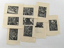 Harry Barr (1896-1987) A group of ten wood engravings from the depression years, mainly character studies, two duplicates, seven signed in pencil on the margin H Barr or Harry Barr and dated 1932. All 7.5x10cm. hand printed on loose leaves from a pad or book. Harry Barr, a student and friend of Walter Sickert, was later renowned for his watercolours and was the first British artist to have a  one-man art exhibition in Moscow, 1965. A retrospective exhibition of his work was held at the Catto Gallery in 1990
