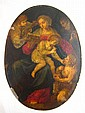 An oval oil on copper panel of the Virgin and