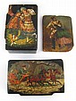 Two Russian lacquered boxes, one with troika, one