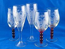 Five Russian glasses, being two pairs and a