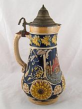 A German Bierstein pouring jug with traditional