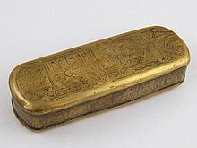 A 17th/18th. c. Dutch brass tobacco box engraved
