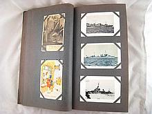 A quarter leather bound album of mainly WW I and