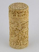 A Chinese finely carved ivory cylindrical box with