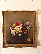 An oil on canvas study of flowers in a vase,