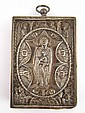 A small white metal Russian icon of the Mother of