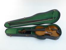 A violin with two bows, one for 3/4 size instrument, in hard case, sound post needs re-fixing but otherwise in very good condition, case a bit scruffy.