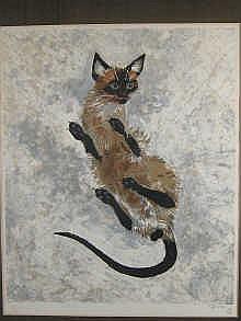 Naondo Nakamura (1905-1981) a lithograph of a cat,