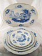 Blue and white ceramics comprising a set of three