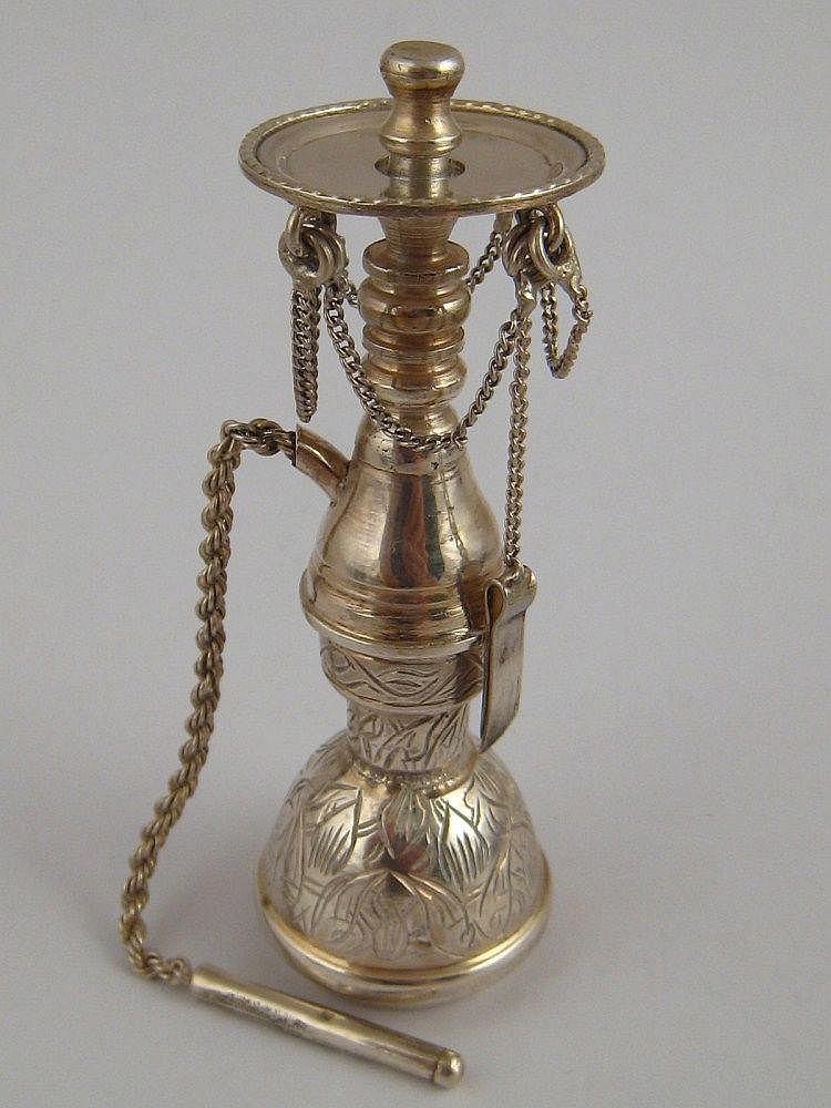 An Egyptian silver miniature model of a shisha,