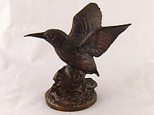 A bronzed metal model of a kingfisher, ht.19cm.