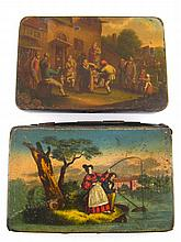 Two 19th century European painted tin boxes, the