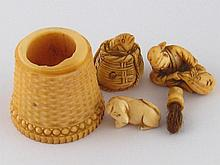 Five ivory items, being a netsuke of a man with a