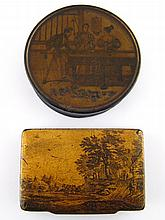 Two 19th century lacquer boxes with painted lids,