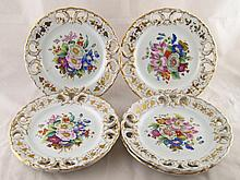 A set of six hand painted floral 19th. c.