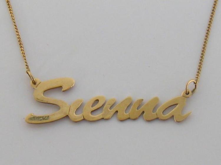 a 9 carat gold name pendant and chain for the bol