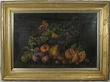 An oil on canvas, still life of fruit, signed '