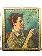 A framed oil on canvas, Portrait of a Lady smoking, Eugene Spiro, Click for value