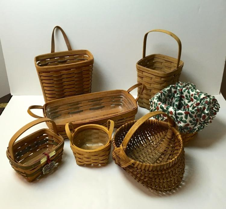 7 BASKETS - 5 LONGABERGER & 2 UNMARKED