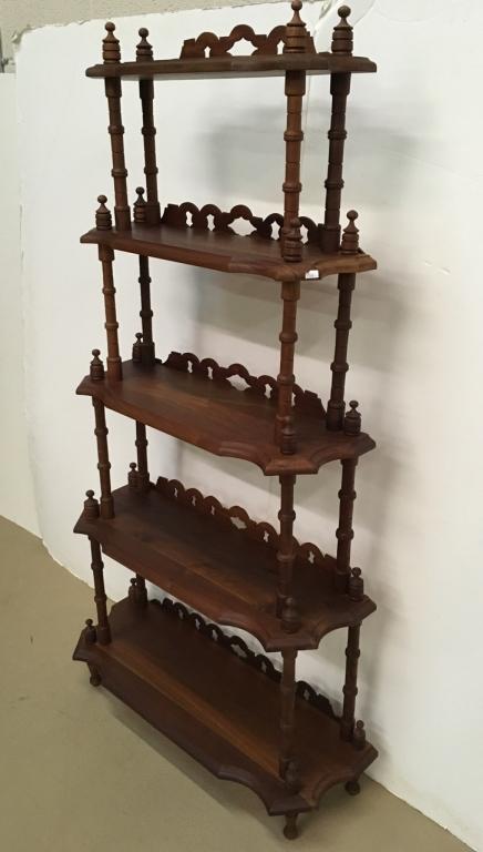 vintage wooden etagere. Black Bedroom Furniture Sets. Home Design Ideas