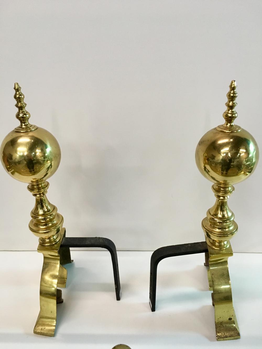 Eight Brass Fireplace Items