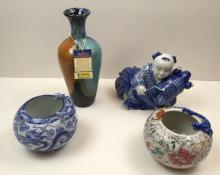 4 PCS OF CHINESE POTTERY & PORCELAIN
