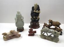 6 PCS OF CARVED STONE CHINESE FIGURES
