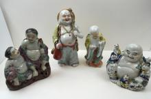 4 PCS - CHINESE / JAPANESE HAND PAINTED FIGURES