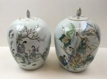 PAIR OF HAND PAINTED CHINESE LIDDED URNS