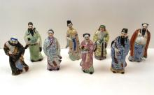 8 HAND PAINTED CHINESE FIGURES