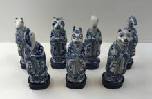 7 CHINESE BLUE & WHITE ANIMAL STATUES