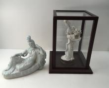 2 CHINESE FIGURINES - GUANYIN FIGURES