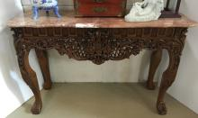 CHINESE CARVED MARBLE TOP TABLE