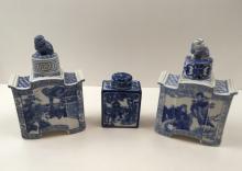 3 CHINESE BLUE & WHITE TEA CADDIES