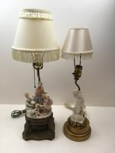 2 VINTAGE LAMPS - DRESDEN STYLE & GUANYIN FIGURE