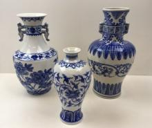 3 HAND PAINTED CHINESE BLUE & WHITE VASES