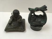 2 BRONZE BUDDHA STATUES
