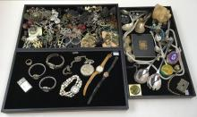 THREE TRAY OF COSTUME JEWELRY, WATCHES & MORE