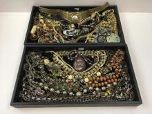 TWO TRAYS OF COSTUME JEWELRY NECKLACES