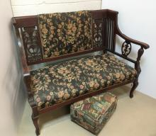 CARVED MAHOGANY SETTEE & FOOTSTOOL