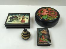 4 PCS OF LACQUER WARE - RUSSIAN BOXES & PEAR