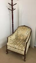 FRENCH STYLE ARM CHAIR & WOODEN COAT RACK
