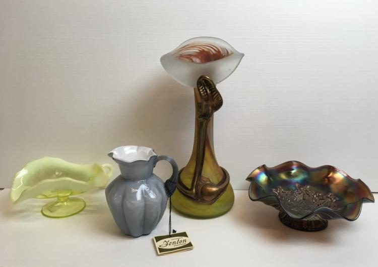 4 PCS OF VINTAGE & CONTEMPORARY GLASSWARE