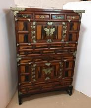 ANTIQUE ASIAN WEDDING 2 PART CABINET ON STAND
