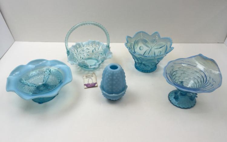 5 PCS OF VINTAGE BLUE OPALESCENT & SATIN GLASS
