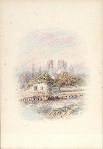 GEORGE FALL (Circa 1848 - 1925) 'Barges on a river, with York Minster beyond', watercolour, signed, vignette form, overall 33cm x 23cm. Estimate -