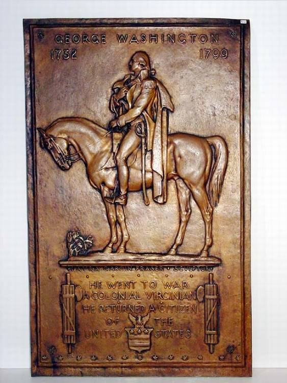 George Washington Bronze Plaque.  Rectangular depicting General Washington in profile mounted on his horse, on a plinth inscribed