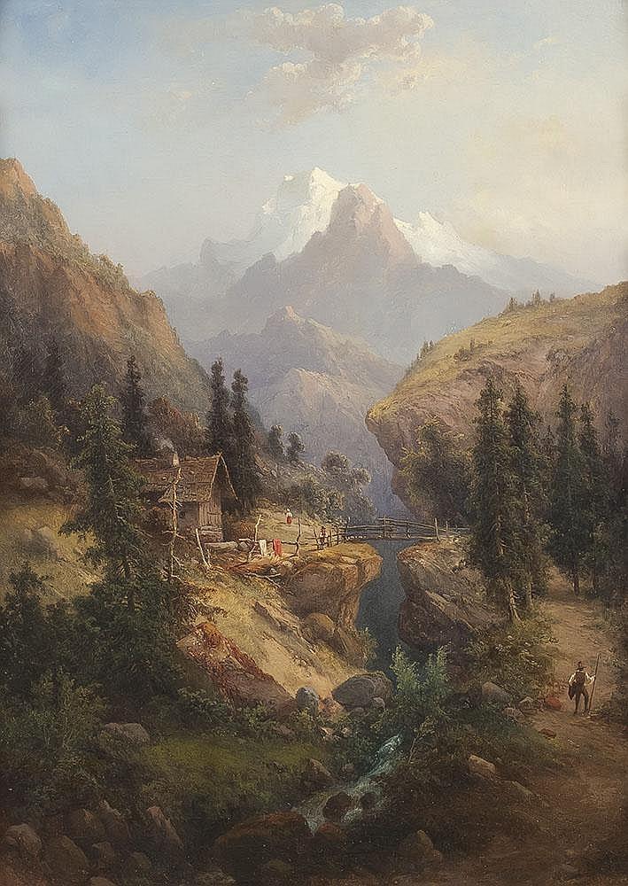 Paar Alpenlandschaften mit Figurenstaffage
