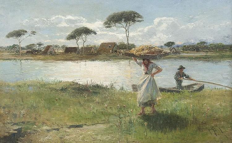 Flusslandschaft mit Bäuerin und Fischer am Ufer