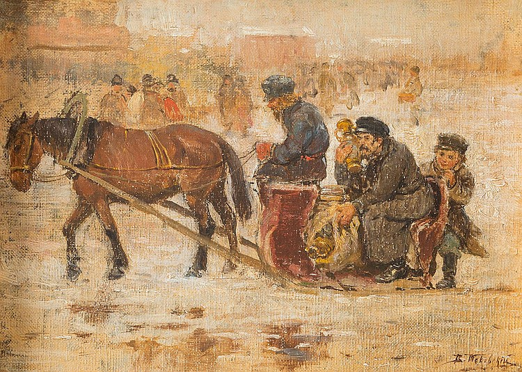 RUSSIAN PAINTER active ca. 1900 Sleigh with a market dealer